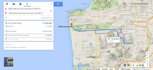 Google Maps walking route with terrain details
