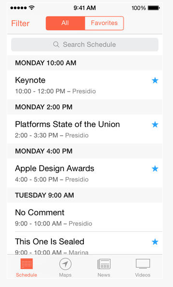 Screenshot of the WWDC app