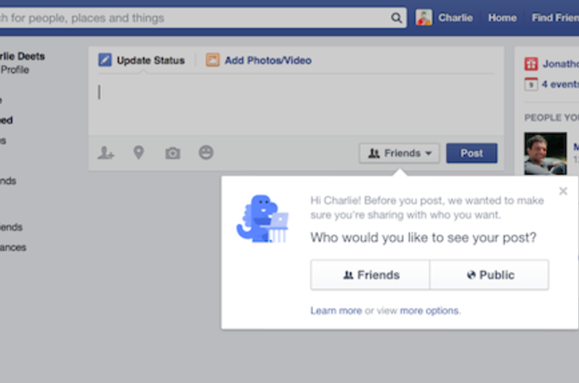 Facebook's new privacy induction dialog for new users