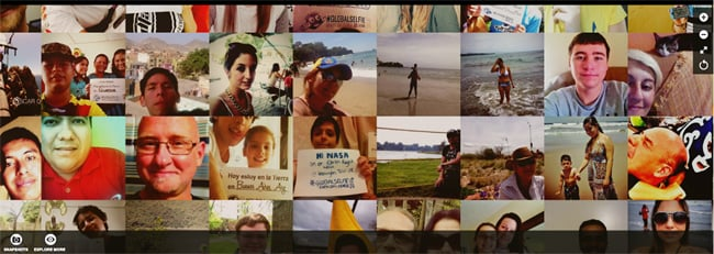A zoomed area of the Global Selfie, showing individual selfies