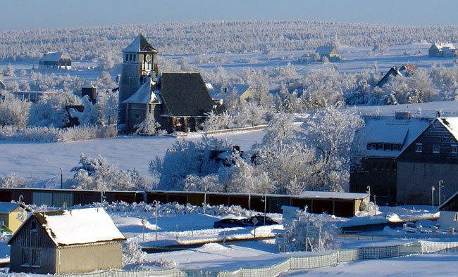 Beautiful snow-covered landscape in German/Czech mining town called Zinnwald/Cinovec