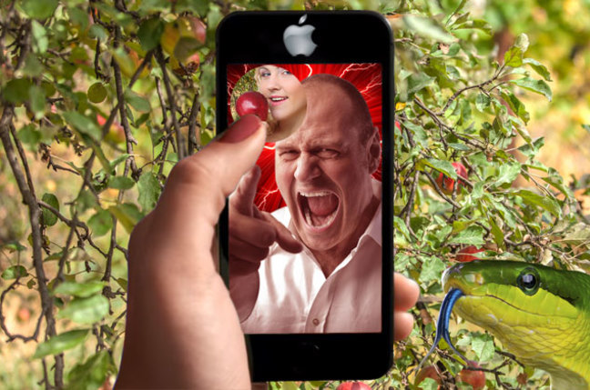 Eve in the Garden of Eden talking to a rather angry God on Snapchat