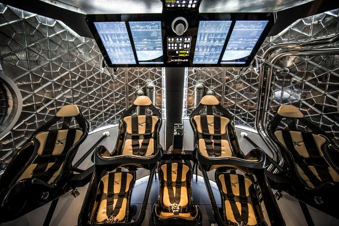 The inside of the seven-seater, manned SpaceX Dragon V2