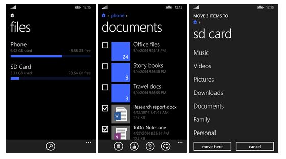 Screenshot of Windows Phone 8.1 Files app