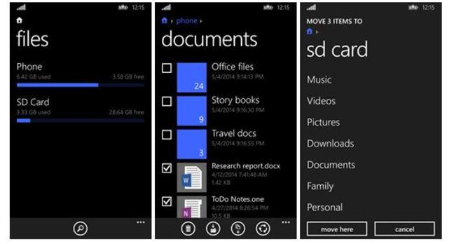 Screenshot of Windows Phone 8.1 Files app