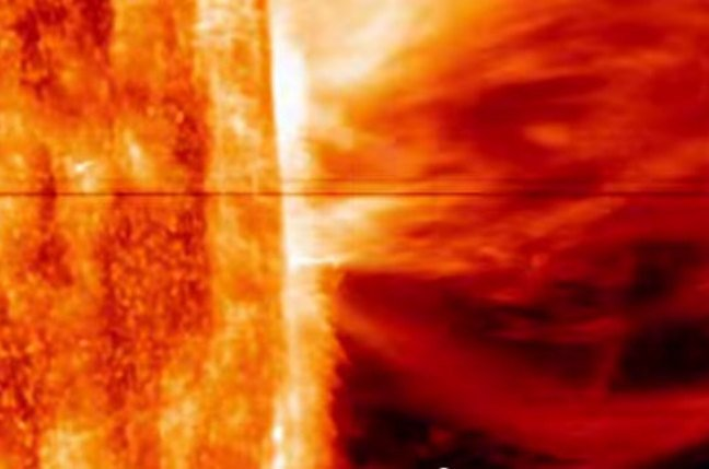 Still from the IRIS video of the CME. Pic: NASA