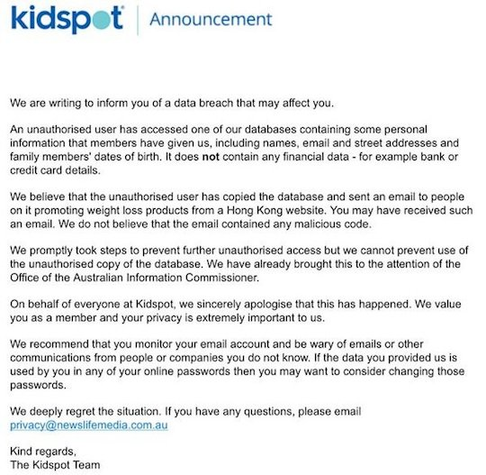 Kidspot's email to customers
