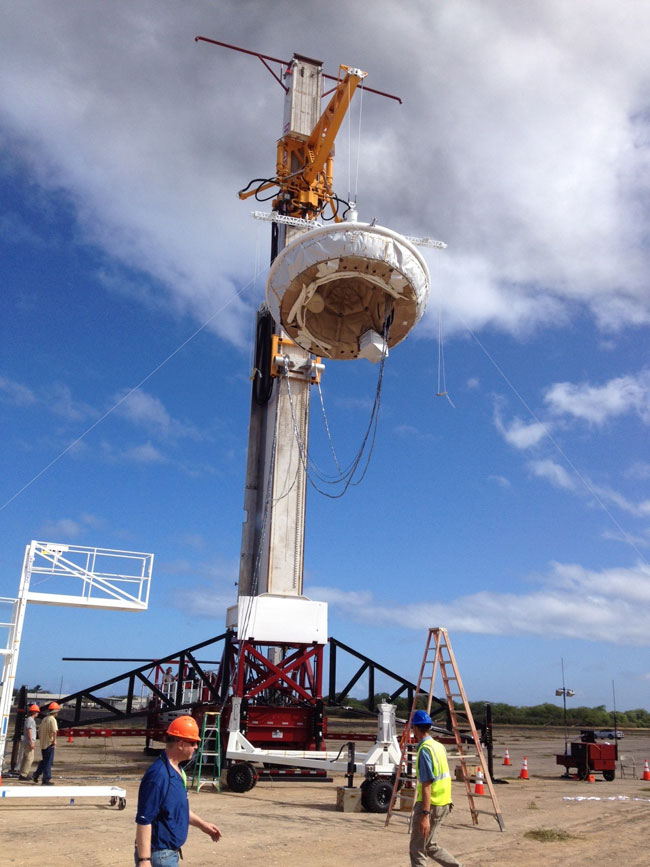 The LDSD lifted by a crane prior to launch. Pic: NASA