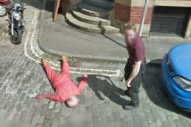 Another still of mechanics Dan Thompson and Gary Ker caught on Street View