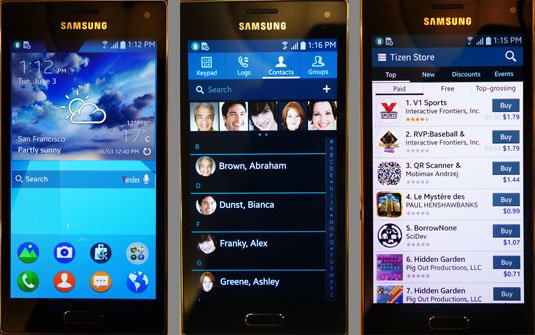 Screenshots of the Samsung Z smartphone running Tizen