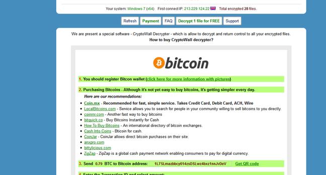 Cryptowall ransomware notice