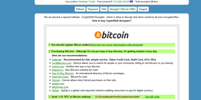 Cryptowall ransomware notice