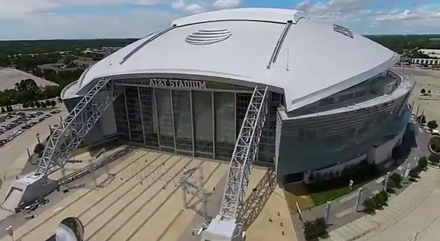 Aerial still of the Dallas Cowboys stadium