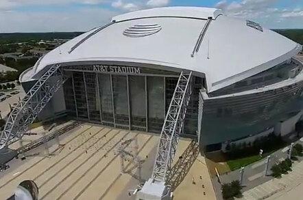 Aerial still of the Dallas Cowboys stadium