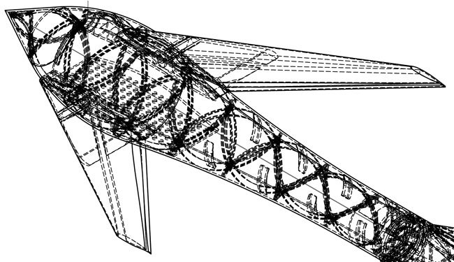 CAD axonometric view of the Vulture's nose and canards