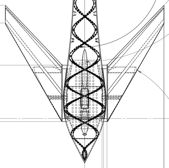 CAD plan view of the Vulture's nose and canards