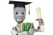 Robot wearing mortar board and brandishing certificates