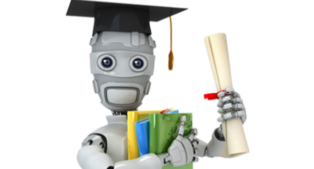 Robot wearing mortar board and brandishing certificates
