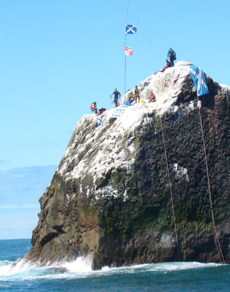 The team atop Rockall during our 2005 assault
