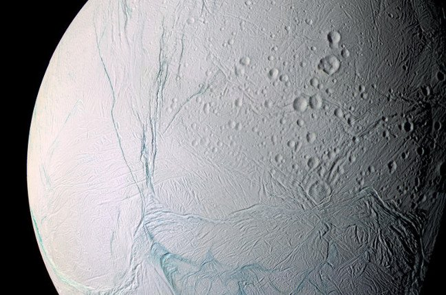 Mosaic of pics from the Cassini spacecraft show Saturn's moon Enceladus