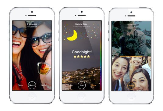 Screenshots of Facebook's Slingshot app