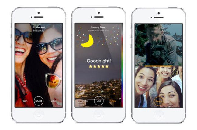 Screenshots of Facebook's Slingshot app
