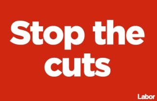 ALP stop the cuts poster