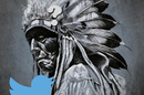 Arapaho warrior with Twitter logo