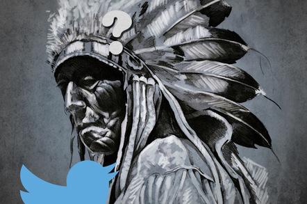 Arapaho warrior with Twitter logo