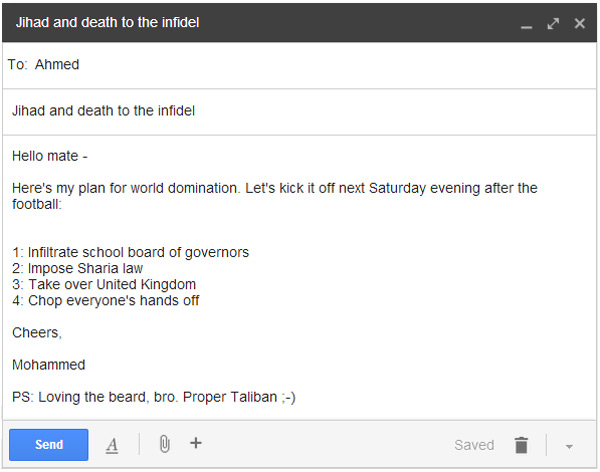 Email from alleged Trojan Horse Islamist