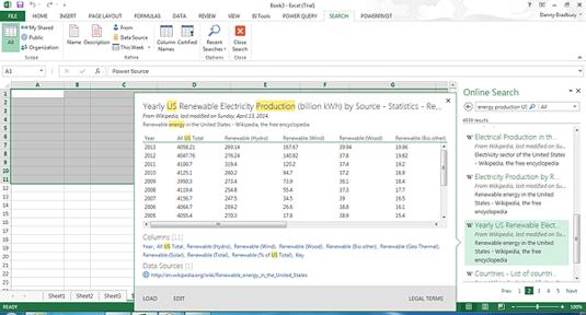 Power BI screenshot 1: searching for data