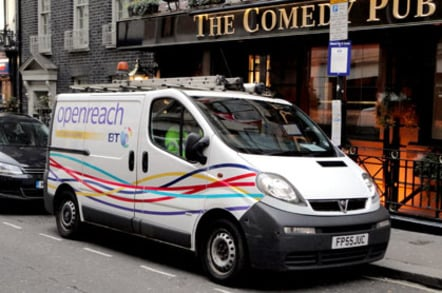 BT Openreach van outside Comedy Pub