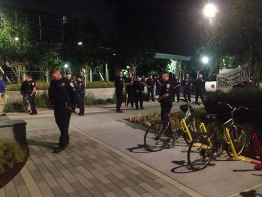Police clear protesters at Google HQ