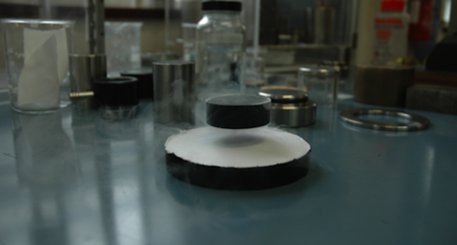 Cambridge's superconducting magnet levitating