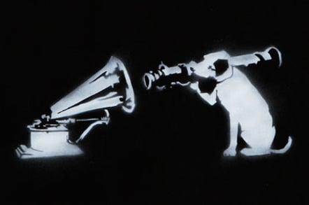 Banksy HMV dog Nipper with bazooka