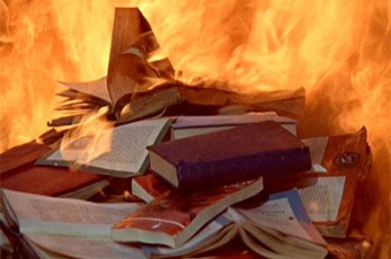 Photo of burning books
