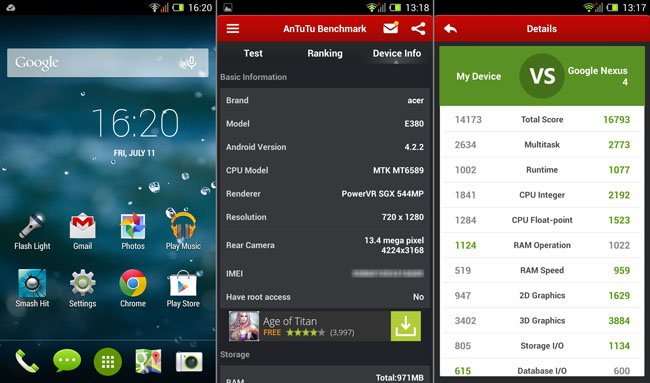 Acer Aspire Liquid E3 homescreen and AnTuTu score