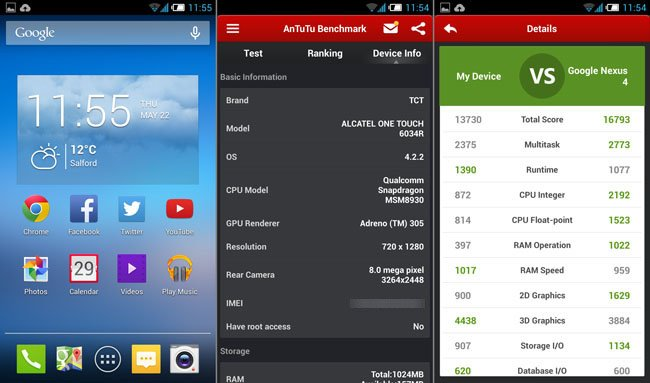 Alcatel Idol S homescreen and AnTuTu score