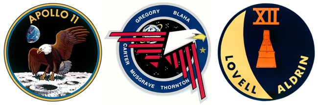Three NASA mission patches