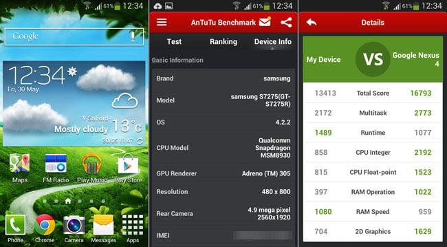 Samsung Galaxy Ace 3 homescreen and AnTuTu score