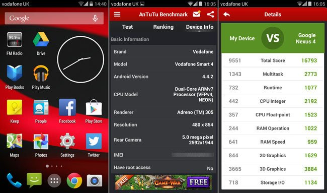 Vodafone Smart 4 homescreen and AnTuTu score