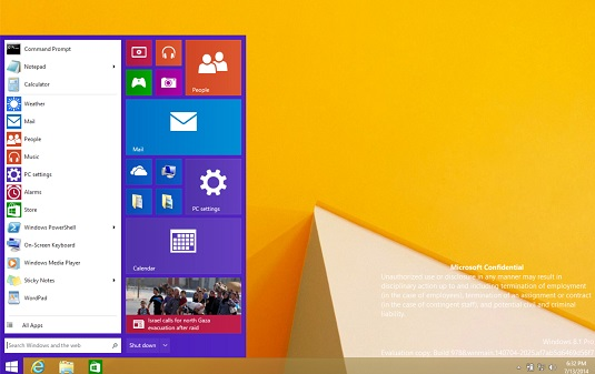 Leaked screenshot showing new Windows 8.x Start Menu