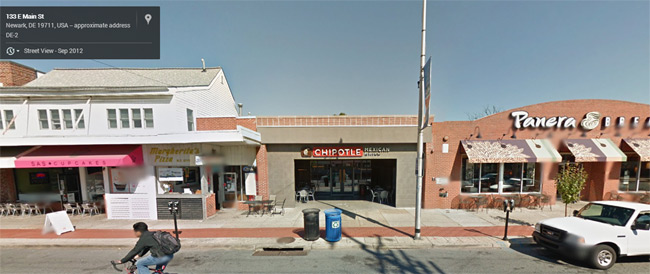The Chipotle in question seen on Street View