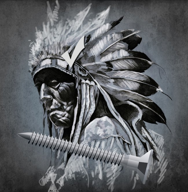 Arapaho warrior contemplating a screw