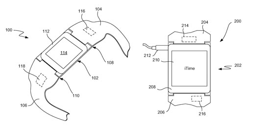 "Drawings from Apple's ""iTime"" patent"