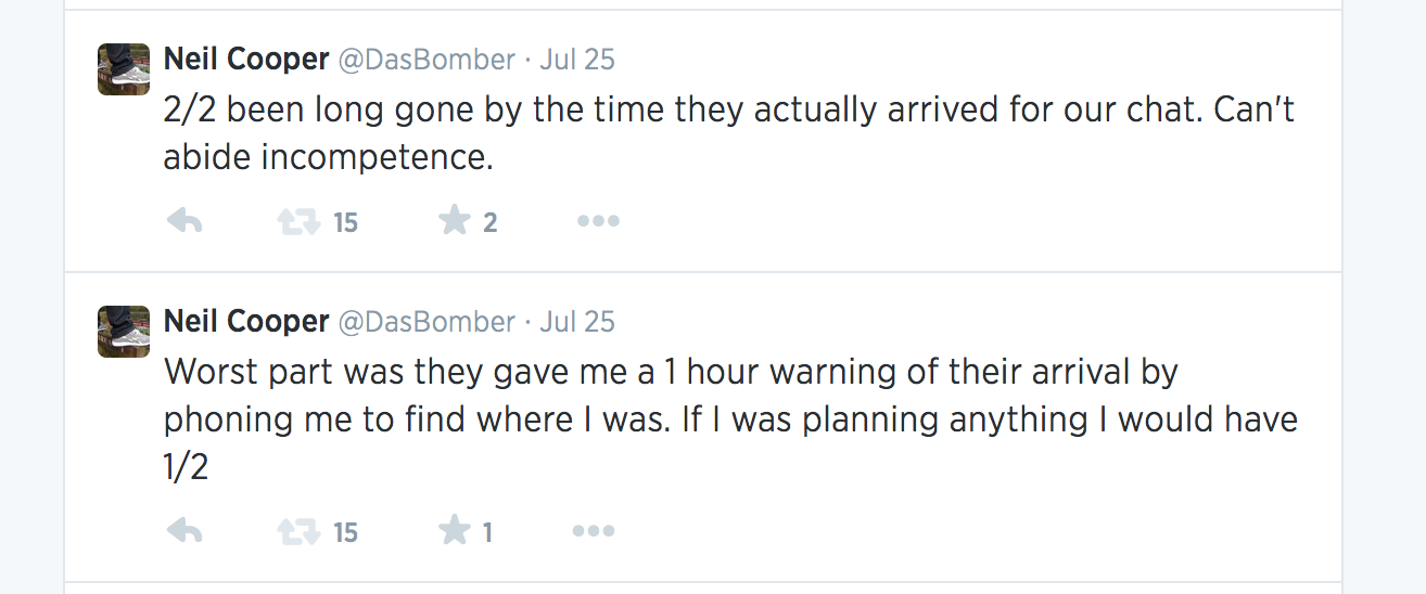 @DasBomber tweets that led to police arriving at 1am