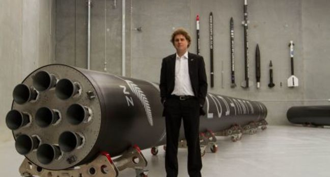 Rocket Lab's Peter Beck with a model of Rutherford