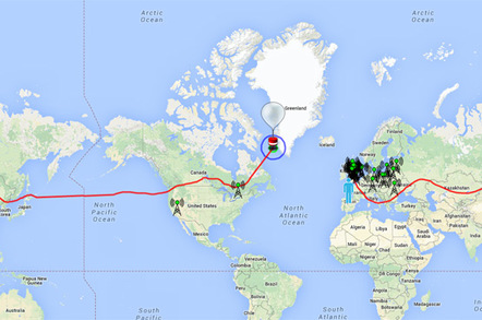 The path of B-64 shown on a world map
