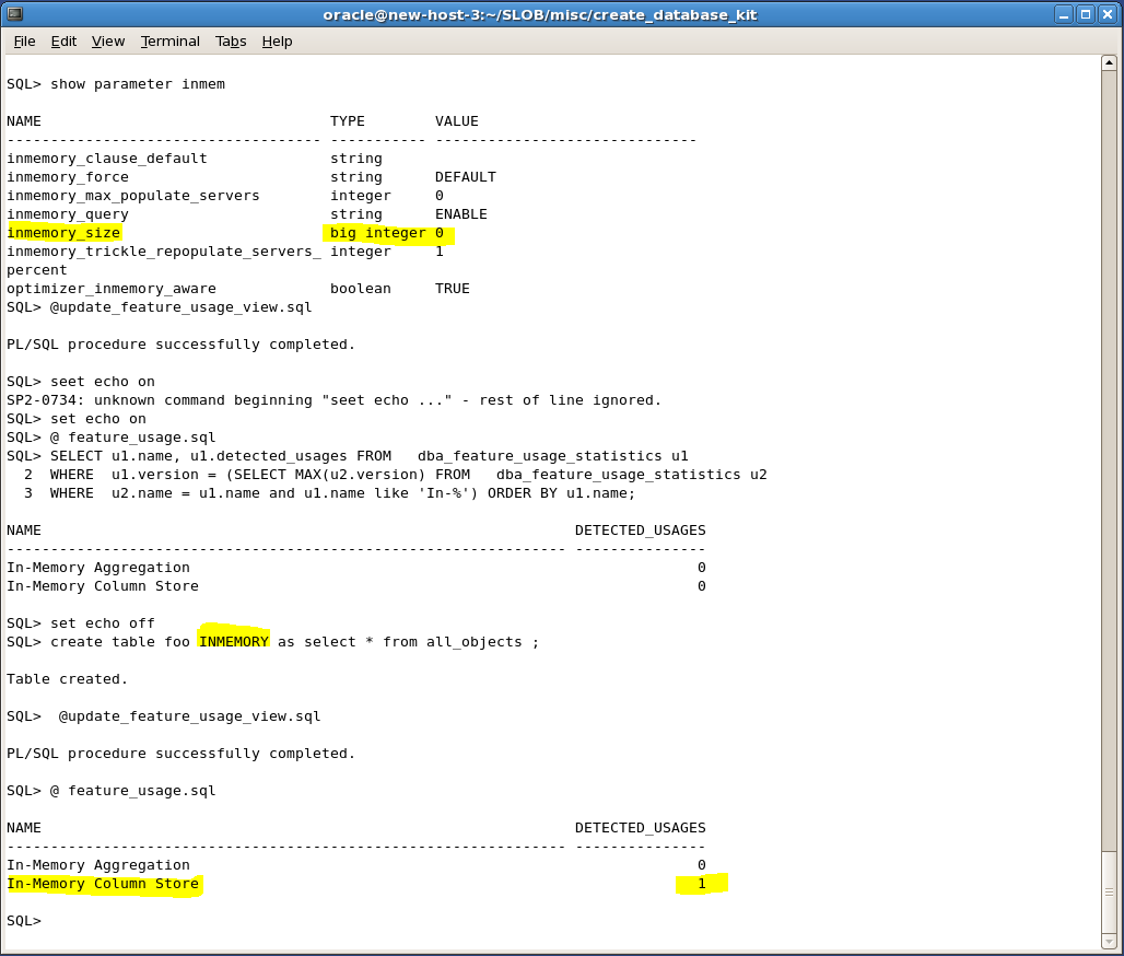 Screenshot showing Oracle 12c's In-Memory database feature being activated