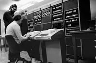 UNIX developers Ken Thompson and Dennis Ritchie working on a DEC PDP-11 minicomputer